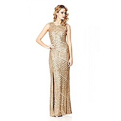 Quiz - Gold Sequin Zig Zag Split Maxi Dress