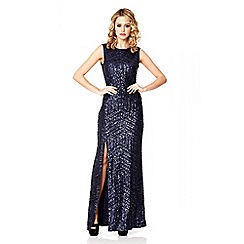 Quiz - Navy Sequin Zig Zag Split Maxi Dress