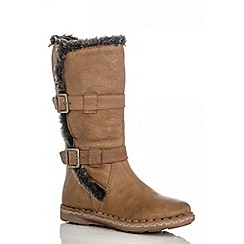 Quiz - Tan leather faux fur lined boots