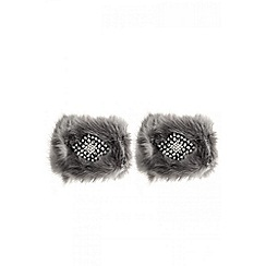 Quiz - Grey jewel faux fur cuffs