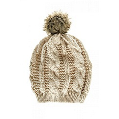 Quiz - Cream Knitted Pom Pom Hat