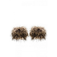 Quiz - Brown faux fur cuffs