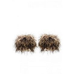 Quiz - Brown faux fur cuffs