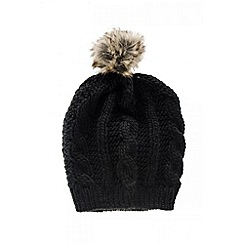 Quiz - Black Knitted Pom Pom Hat