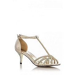 Quiz - Gold Diamante Low Heel Sandals