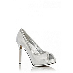 Quiz - Silver Shimmer Diamante Platform Shoes