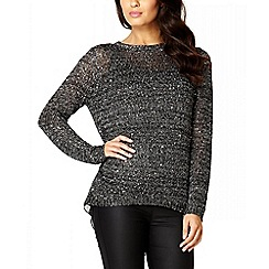 Quiz - Dark Silver Sequin Chiffon Back Jumper