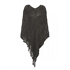 Quiz - Grey Pattern Poncho