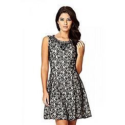 Quiz - Black And Stone Flippy Embellished Dress