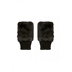 Quiz - Black faux fur fingerless gloves