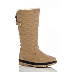 Quiz - Beige Quilted Calf Boots