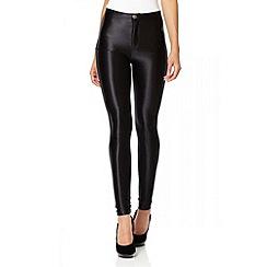 Quiz - Black Buttoned Shiny High Waist Disco Leggings