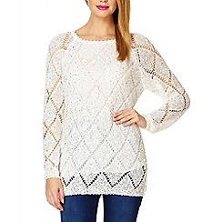 Quiz - Cream Knitted Embellished Jumper