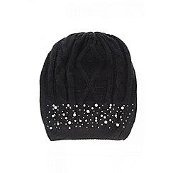Quiz - Black Pearl And Diamante Beanie Hat