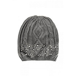 Quiz - Grey Pearl And Diamante Beanie Hat