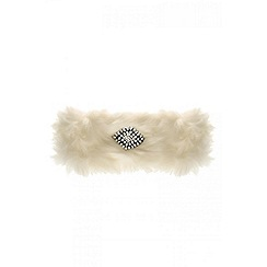 Quiz - White jewel faux fur headband