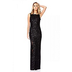 Quiz - Black Zig Zag Sequin Maxi Dress