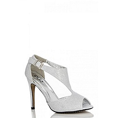 Quiz - Silver Sparkle Cut Out Court Shoes