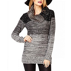 Quiz - Black faux fur metallic knit jumper
