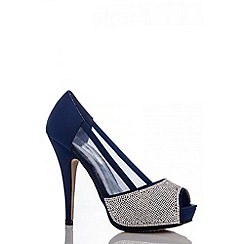 Quiz - Blue Diamante Mesh Platform Shoes
