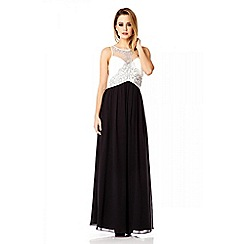 Quiz - Cream Chiffon Embellished Maxi Dress