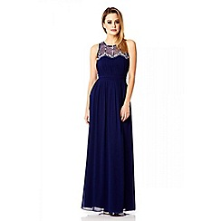 Quiz - Navy chiffon beaded pearl maxi dress