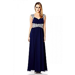 Quiz - Navy Chiffon Embellished Maxi Dress
