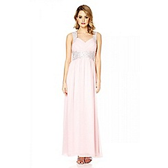 Quiz - Pink chiffon embellished maxi dress