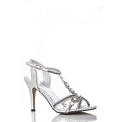 Quiz - Silver round diamante sandals