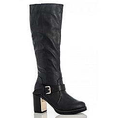 Quiz - Black Block Heel Gold Plate High Boots