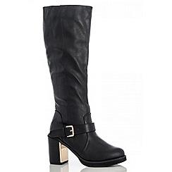 Quiz - Black Block Heel Gold Plate High Boots