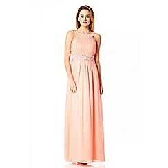 Quiz - Coral Chiffon Embellished Maxi Dress