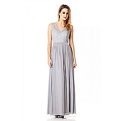 Quiz - Grey mesh lace bead detailed maxi dress