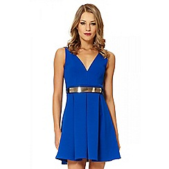 Quiz - Blue belt skater dress