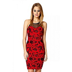 Quiz - Red crossover strap flower mesh dress