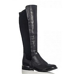 Quiz - Black pu stretch boots