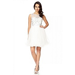 Quiz - White mesh diamante embellished prom dress