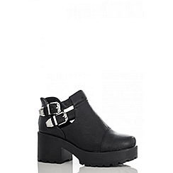 Quiz - Black PU Chunky 2 Buckle Ankle Boots