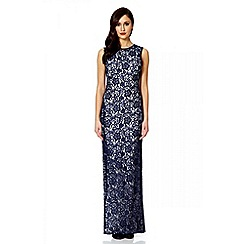 Quiz - Navy Glitter Lace Split Maxi Dress
