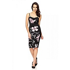 Quiz - Pink flower contrast midi dress