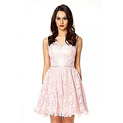 Quiz - Navy lace and diamante v-neck maxi dress