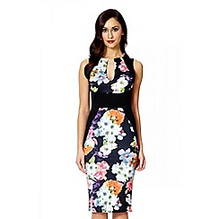 Quiz - Black flower print v-neck midi dress