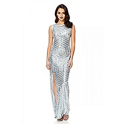 Quiz - Blue sequin zig zag split maxi dress