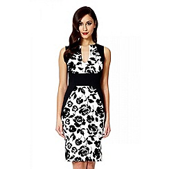 Quiz - Cream flock rose print panel midi dress