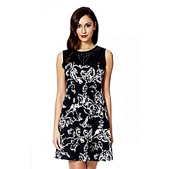 Quiz - Black embellished neck floral flippy dress