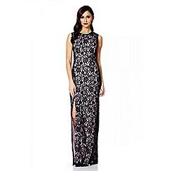 Quiz - Black and pink lace split maxi dress