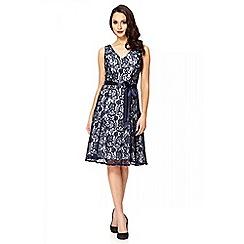 Quiz - Navy Lace Glitter Embellished Dress