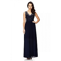 Quiz - Navy lace and diamante v-neck maxi dress