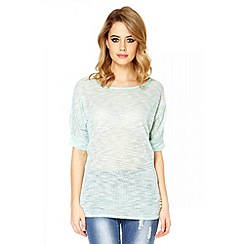 Quiz - Aqua lurex light knit top