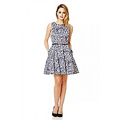 Quiz - Navy cotton paisley print skater dress
